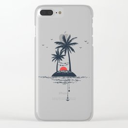 Beach. Palms. Sunset and Anchor. Geometric Style Clear iPhone Case