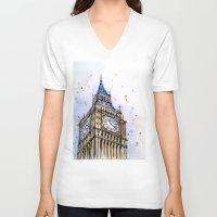 ben giles V-neck T-shirts featuring big ben by Beth Jorgensen