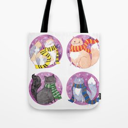 Magical Cats in House Scarves Tote Bag