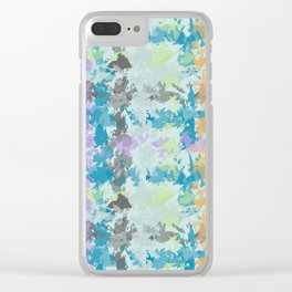 Large Scale Fragmented Blue Plaid Clear iPhone Case