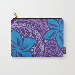 Circular Polynesian Hawaiian Blue Purple Floral Tattoo Carry-All Pouch