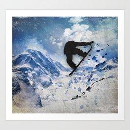 Snowboarder In Flight Art Print