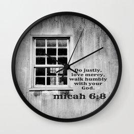 Micah 6 Just Mercy Humble Wall Clock