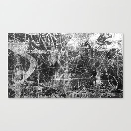 black abstract mono graffiti texture pattern Canvas Print