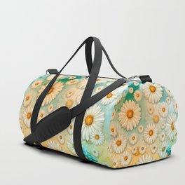 """Turquoise Moth &  Marguerites"" Duffle Bag"