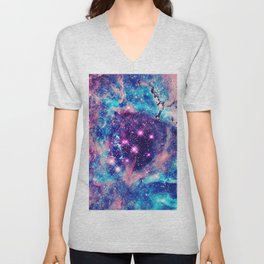 Trendy Pastel Pink Blue Nebula Girly Stars Galaxy Unisex V-Neck