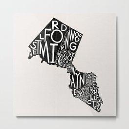 Passaic County, New Jersey Map Metal Print