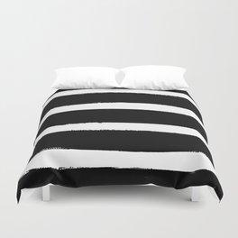 Black & White Paint Stripes by Friztin Duvet Cover