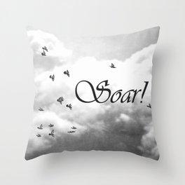 Soar Birds in Flight A610BW Throw Pillow