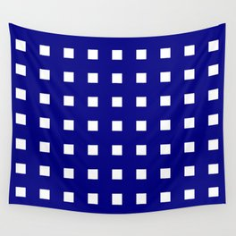 square and tartan 6 blue and white Wall Tapestry
