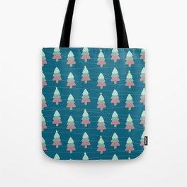 Pastel Christmas Trees (Teal) Tote Bag