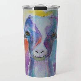 Happy Colorful Goat Travel Mug