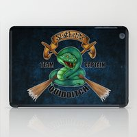 quidditch iPad Cases featuring Slytherine quidditch team captain by JanaProject