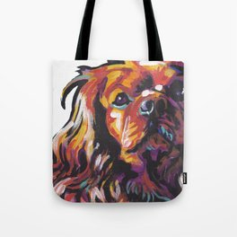 Ruby Cavalier King Charles Spaniel Dog Portrait Pop Art painting by Lea Tote Bag