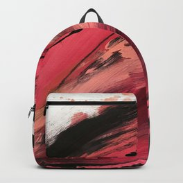 Entangled [2]: a vibrant, colorful abstract mixed-media piece in reds, pinks, black and white Backpack
