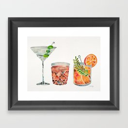 Classic Cocktails  – 1960s Watercolor Lineup Framed Art Print
