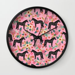 black beauty, mare, horse, horses, floral, florals, black horse, horse bedding, horse decor, cowgirl Wall Clock