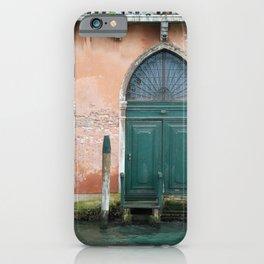 Venetian green door near the water - travel photography iPhone Case