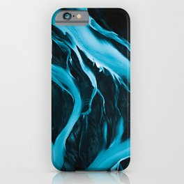 Minimalistic and Moody Glacial Rivers in Iceland – Aerial Landscape Photography iPhone Case