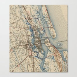 Vintage Map of St. Augustine Florida (1937) Canvas Print