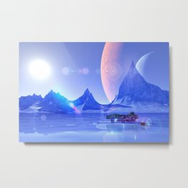 Exploring an Ice Planet Metal Print