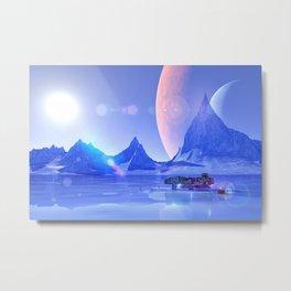 Exploring an Ice Planet Metal Print