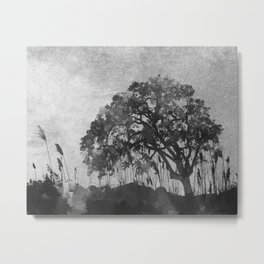The Tree Watercolor (Black and White) Metal Print