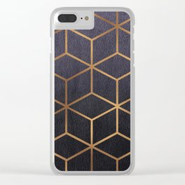 Dark Purple and Gold - Geometric Textured Gradient Cube Design Clear iPhone Case
