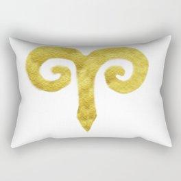 Aries Golden Zodiac Sign Rectangular Pillow