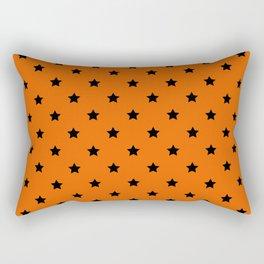 Orange and Black Stars Pattern Rectangular Pillow