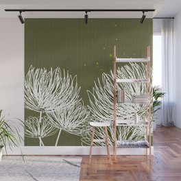 Olive Doodle Floral by Friztin Wall Mural