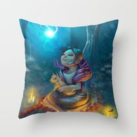 return Throw Pillows featuring Return by El Zapata