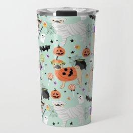 Pug halloween costumes mummy witch vampire pug dog breed pattern by pet friendly Travel Mug