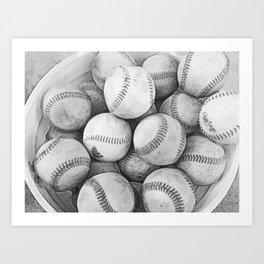 Bucket of Baseballs in Black and White Art Print