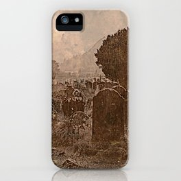 Irish Graveyard | Sepia Graveyard | Halloween Landscape iPhone Case