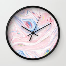 Blush pink blue pastel abstract hand painted watercolor marble Wall Clock