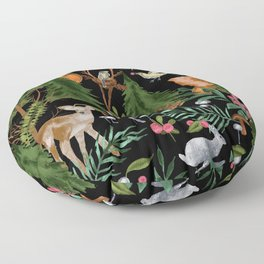 Winter Forest Animals Floor Pillow