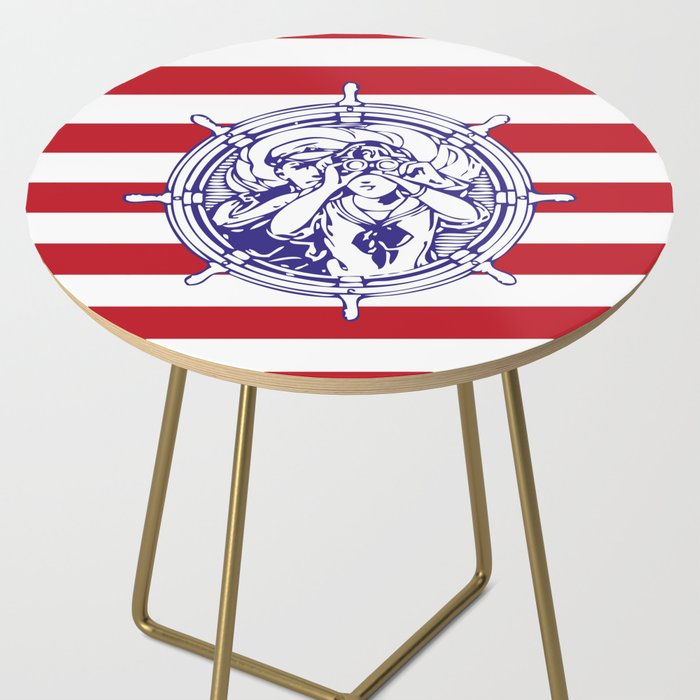 Sail Away With Me | Sailing Couple | Nautical | Red and White Stripes | Side Table