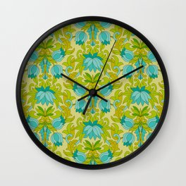 Turquoise and Green Leaves 1960s Retro Vintage Pattern Wall Clock