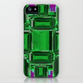 Emerald Gems May Babies Birthstones on Purple iPhone Case