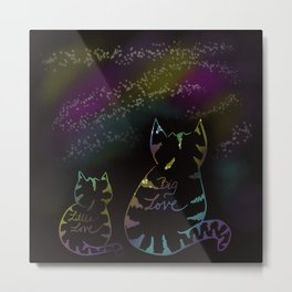 Starry Night Big Love Cats Metal Print