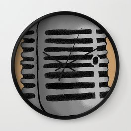 Old Microphone Wall Clock