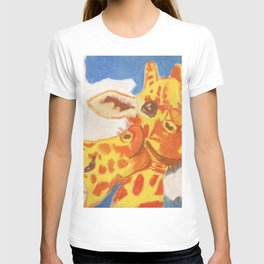 Two Giraffes, One Giraffe is Kissing Another on its Cheek T-shirt