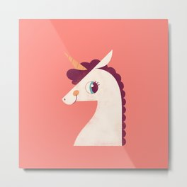 Minimal Unicorn Metal Print