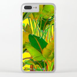 GOLDEN TROPICAL FOLIAGE GREEN & GOLD LEAVES AR Clear iPhone Case