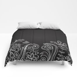 Floral black and white indian flowers pattern Comforters