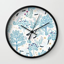 white birds garden Wall Clock