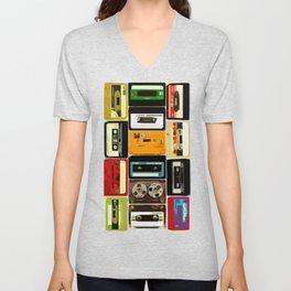 Retro Music Cassette Tapes - In Color Unisex V-Neck