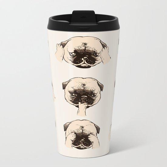 No Evil Pug Metal Travel Mug