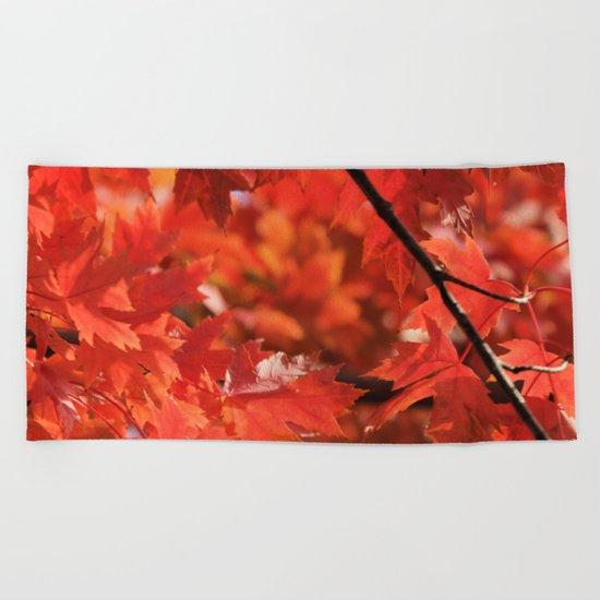 Fall fire Beach Towel